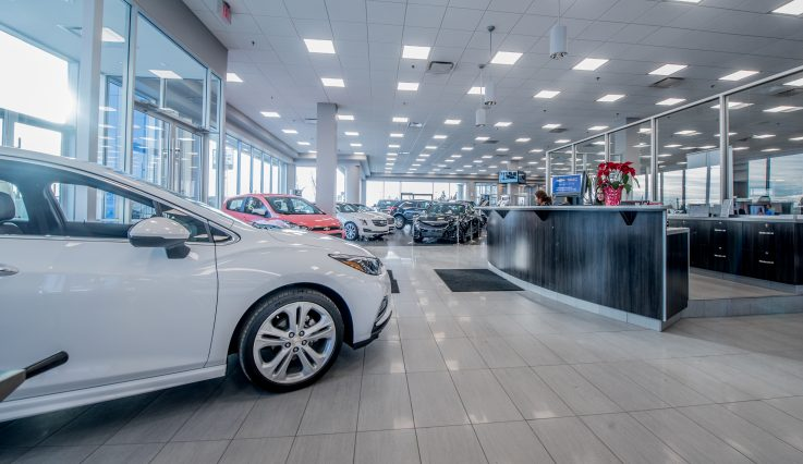 Showroom and front desk at Calgary Motor Products.