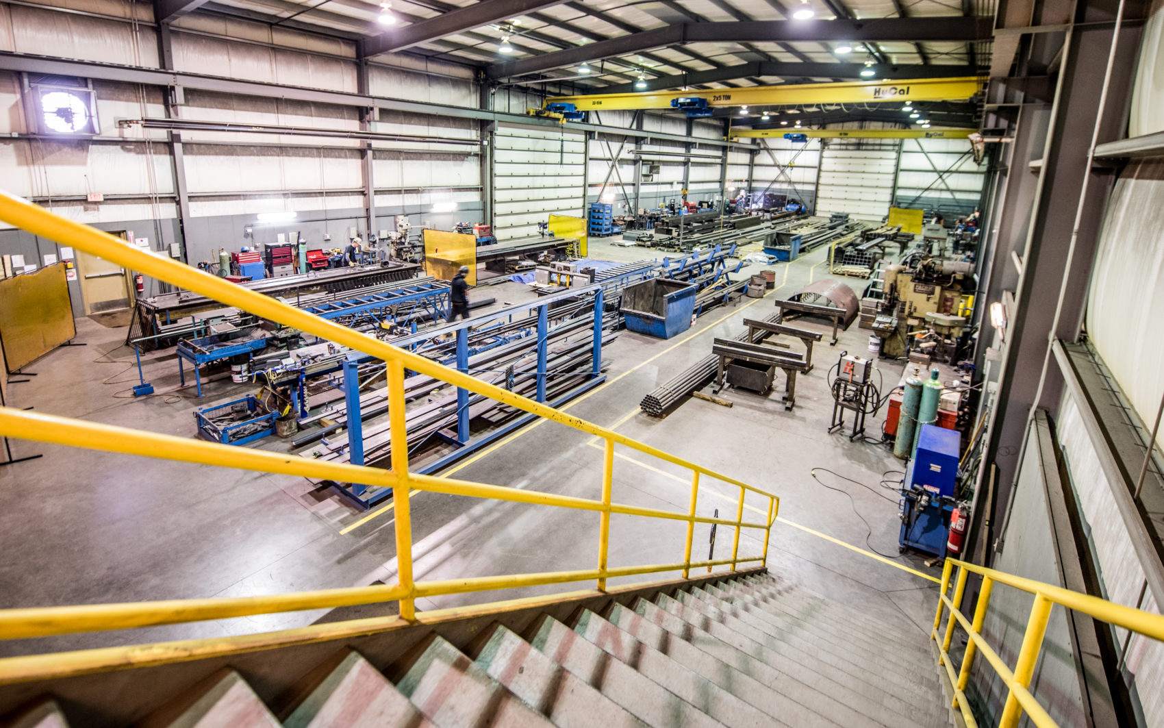 Overhead of shop at Motion Steel.