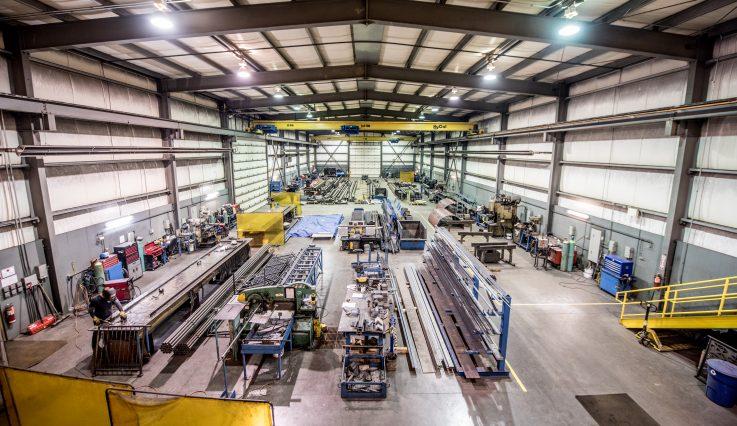 Back garage overhead shot of Motion Steel.