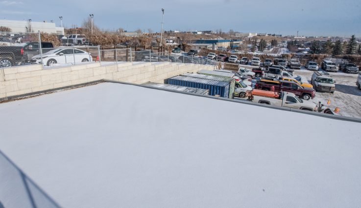 Overhead view of storage lot at Shaw GMC.