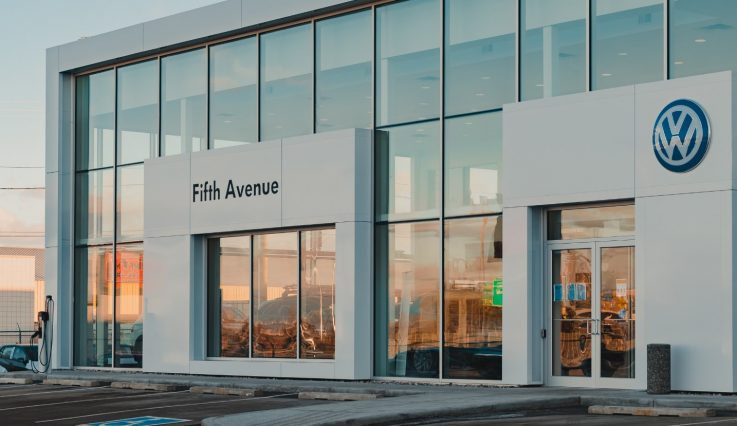 Exterior of dealership at Fifth Ave Volkswagen.